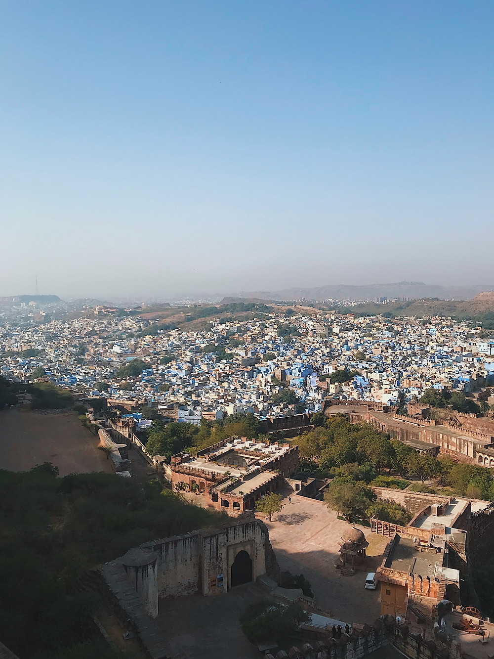 The view of the Blue City of Jodhpur from Mehrangarh Fort in Rajasthan, India