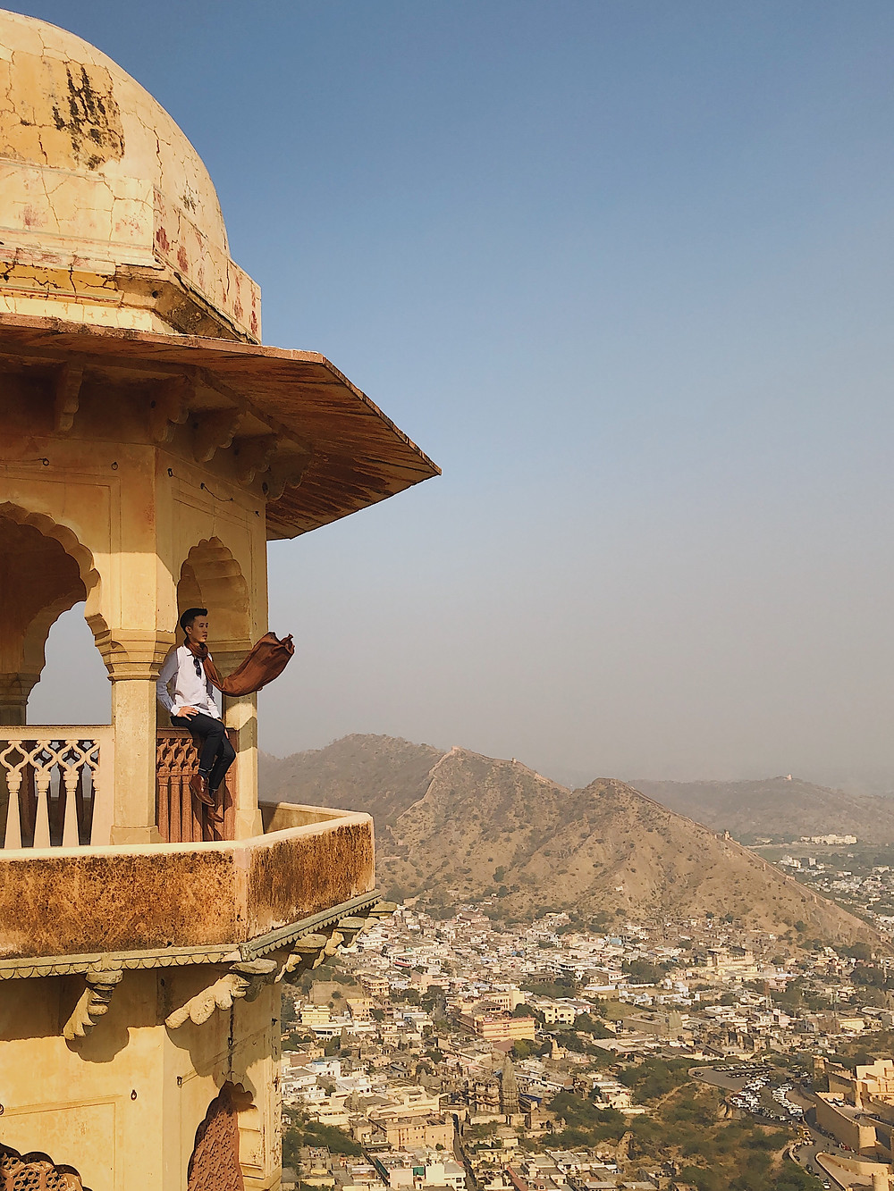 The view Amber Fort and Amer Town Jaigarh Fort in Jaipur, Rajasthan, India