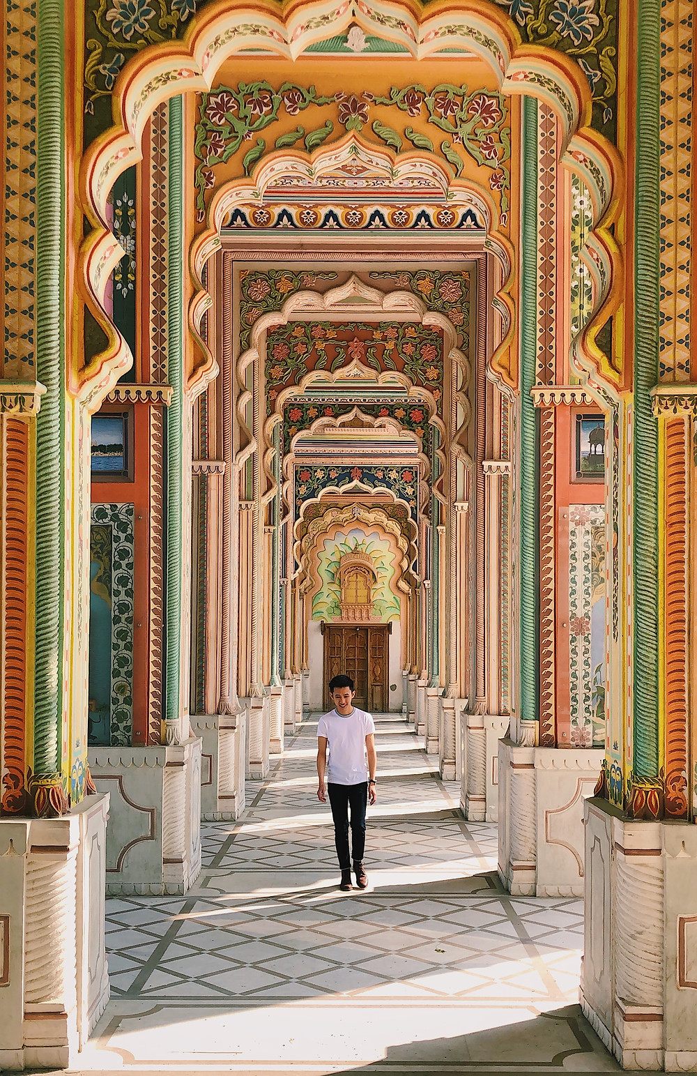 Colourful and symmetrical Patrika Gate, Jaipur, India
