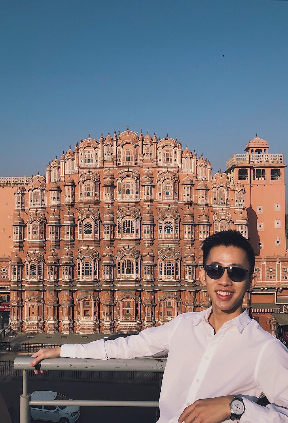 The view of Hawa Mahal in Jaipur, Rajasthan, India