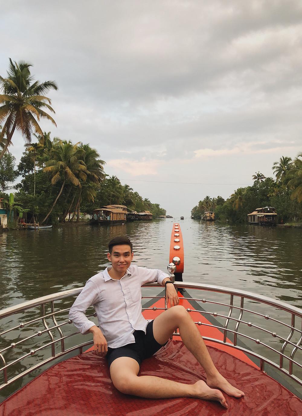 Shikara ride in Kerala backwaters, India