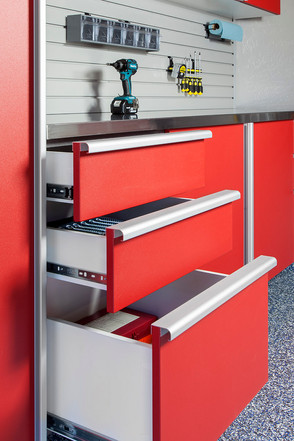 Red Drawers Open Extruded Handles