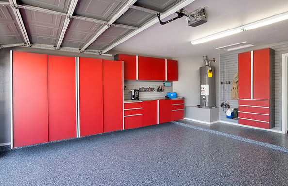 Red Cabinets Stainless Workbench Blue