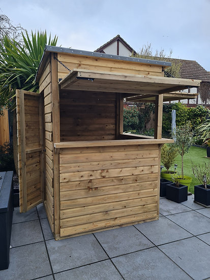 Tanalised Shiplap Garden Bar - Shutters, Door and Flooring Option