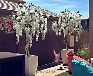 outdoor faux white wisteria trees