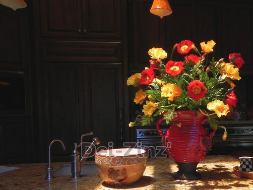 red and yellow silk poppies