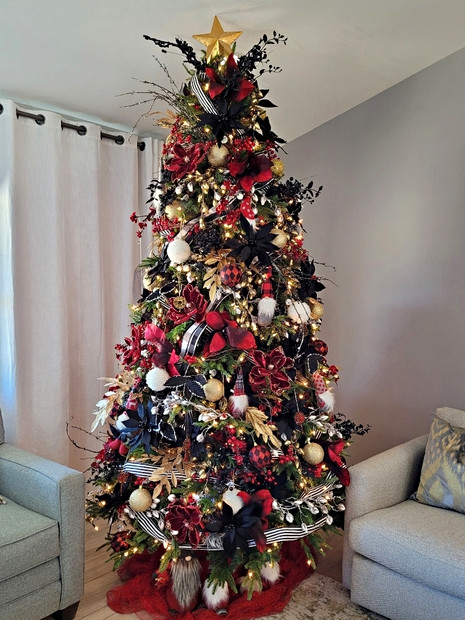 Christmas tree decorated for football te