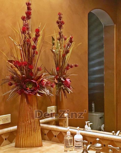 gorgeous bath faux floral arrangement