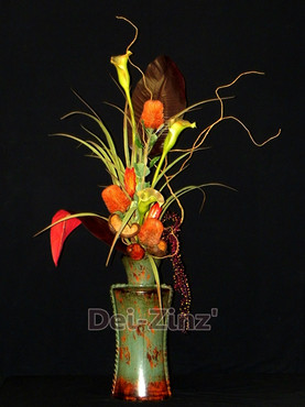 silk Calla and Protea in metal vase