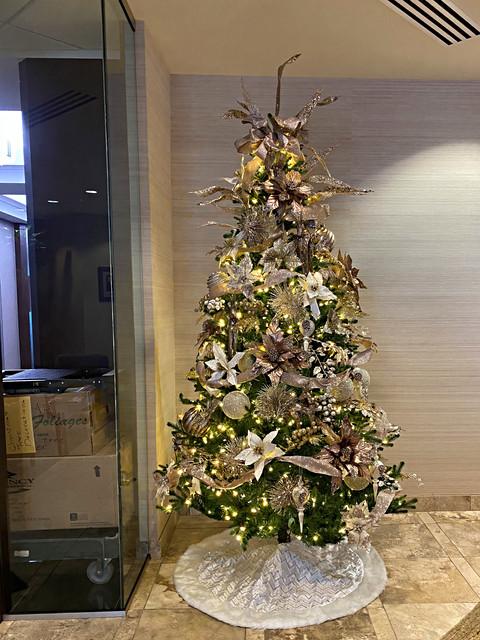 office Christmas tree with metallic deco