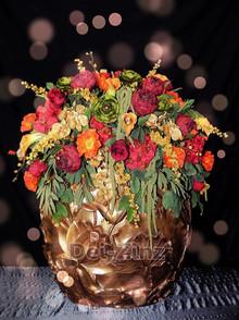 mounded florals in large lotus vase
