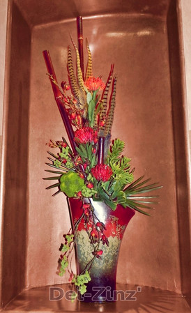 faux tropicals with feathers