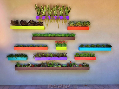 patio wall pockets with artificial succulents