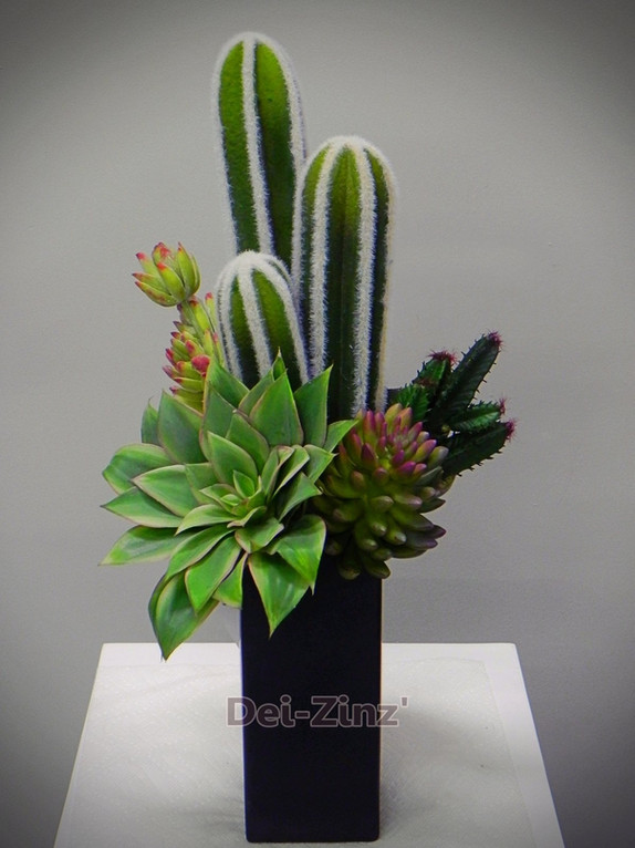 tall faux succulent arrangement