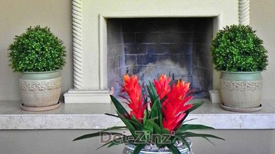 faux-boxwood-ball-topiaries-and-red-bromeliad-plants