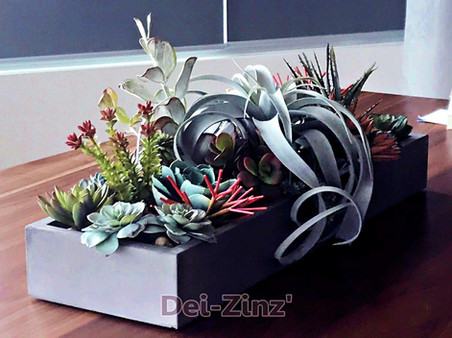 artificial succulent garden with tillandsia