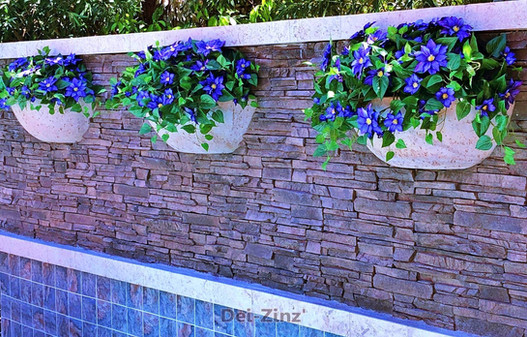 artificial-clematis-in-outdoor-wall-planters