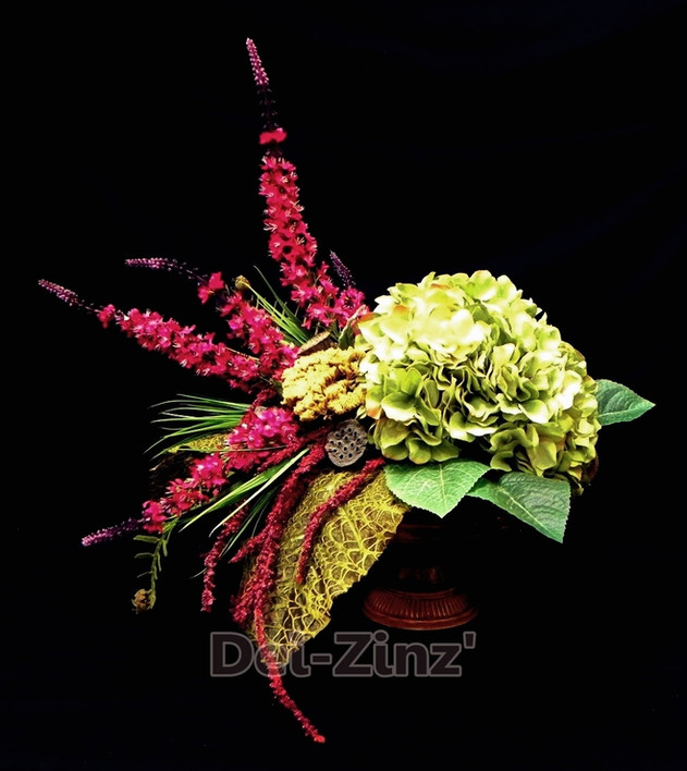 hydrangea and foxglove with gold filigre leaf