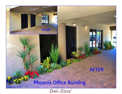 before and after office condo faux landscaping