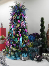 mardi gras themed artificial Christmas tree
