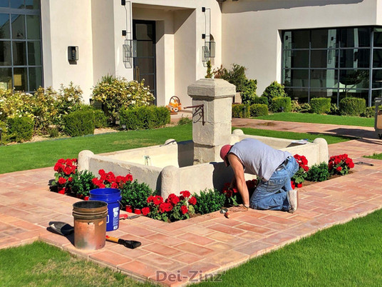 residential-fountain-with-outdoor-faux-plants