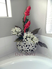 faux ginger and lilies in pearlized flower vase