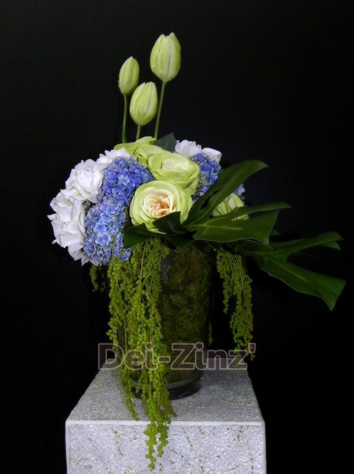 silk hydrangea rose tulip arrangement