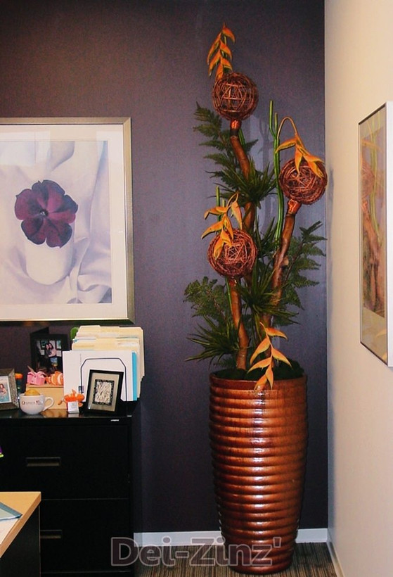heliconia and vine balls arrangement