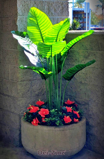 artificial-banana-plant-with-hibiscus