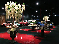 white silk wisteria trees at auto show