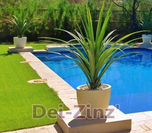 faux pandanus succulent at poolside