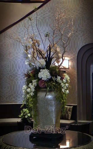 silk floral in senior living lobby