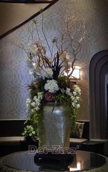 silk floral in senior living lobby