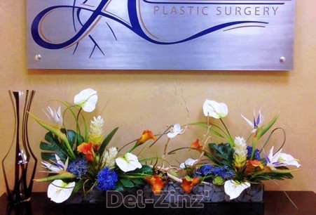 tropical arrangement with grey stone