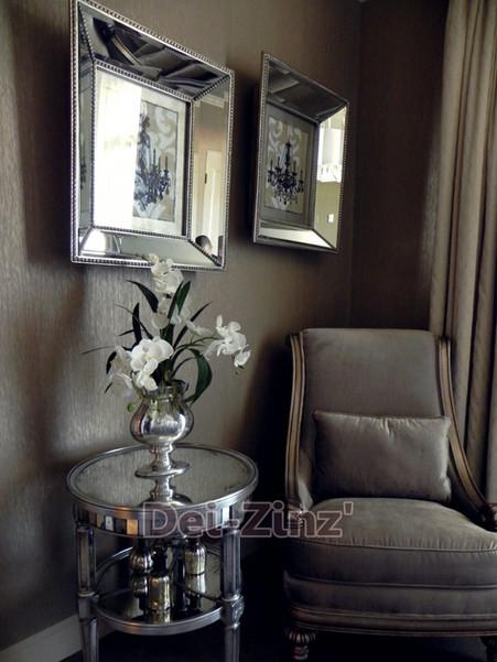 silk white orchids in silver vase