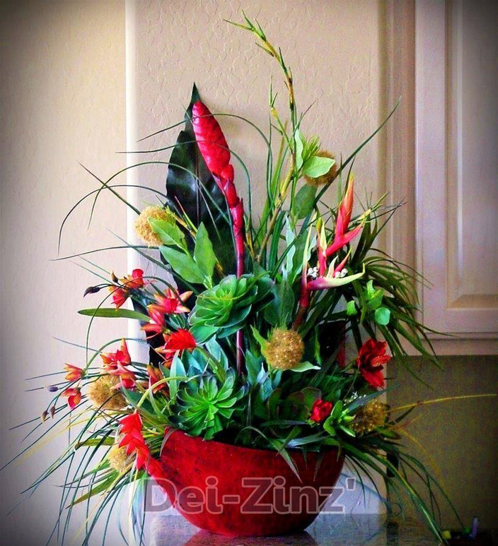 tropical and succulent arrangement