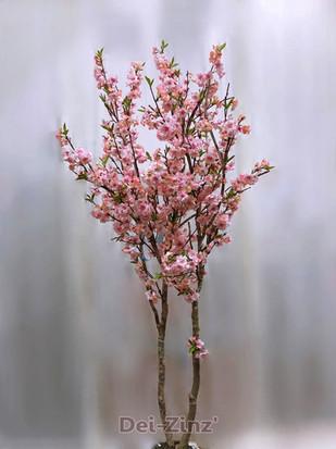 silk pink cherry blossom tree