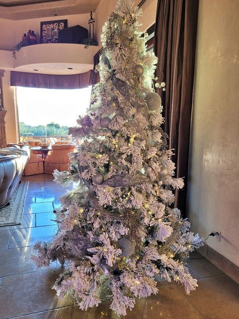 lightl decorated flocked slim Christmas