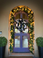 outdoor artificial Christmas wreath and