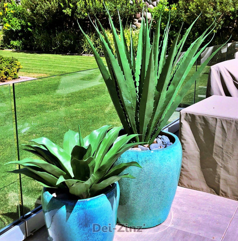 outdoor artificial agaves in ceramic pots