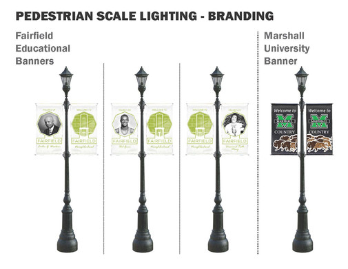 Pedestrian Scale Lighting Banners