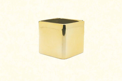 5 Square Glass Vase Gold