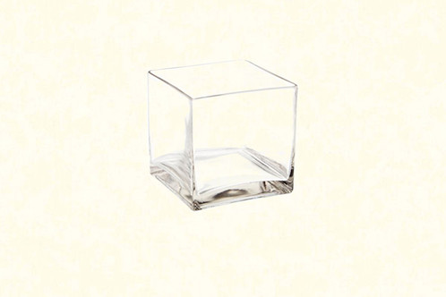5 Square Glass Vase Clear