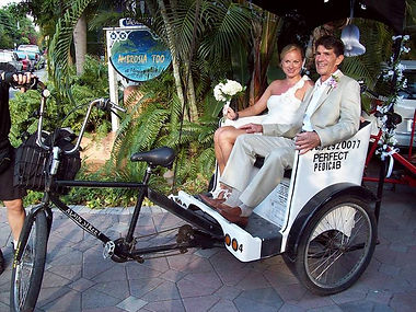 Key West wedding pedicab is such a romantic transportation