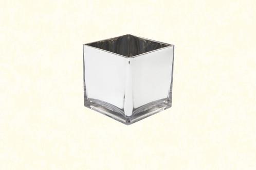 5 Square Glass Vase Silver