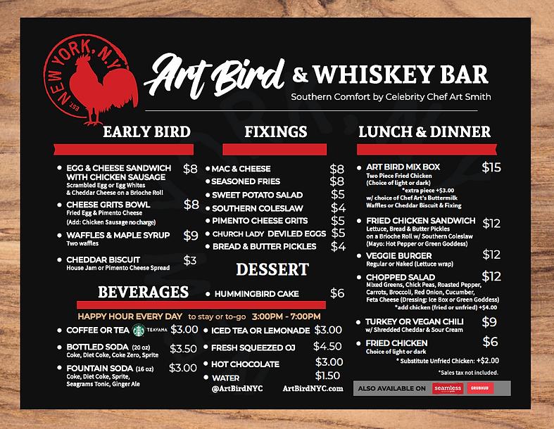 Art Bird & Whiskey Bar Menu