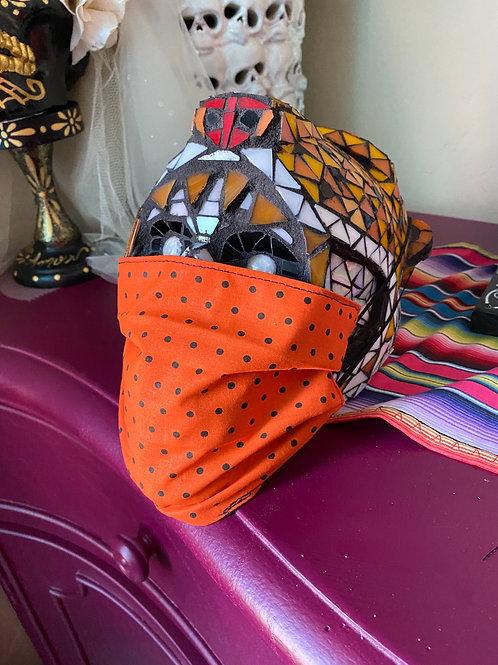 Orange Fabric with Black Dots Mask