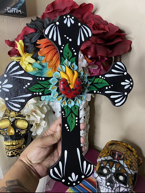 Black Sacred Heart Cross