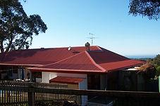 Colourbond roofing installation.