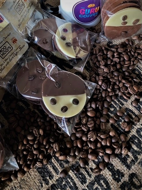 Artisan Belgian Chocolate Discs with Guru Coffee Beans